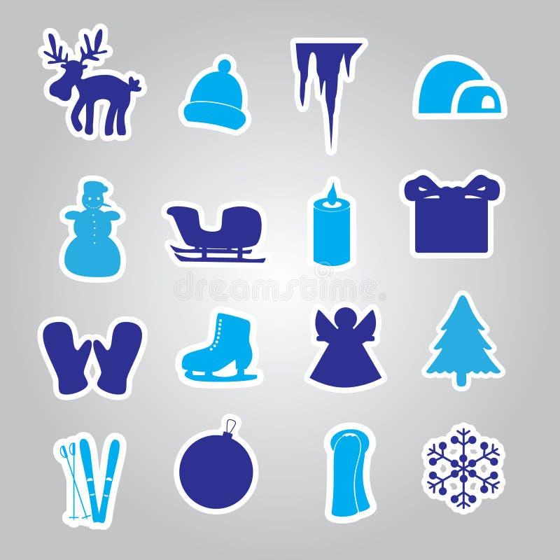 De winter en Kerstmispictogramstickers eps10 vector illustratie