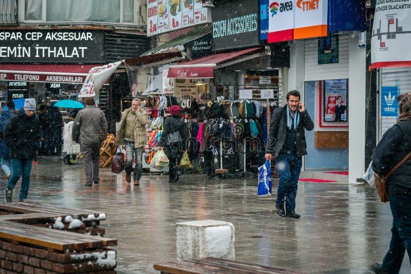 De winter en sneeuw in Istanboel stock foto
