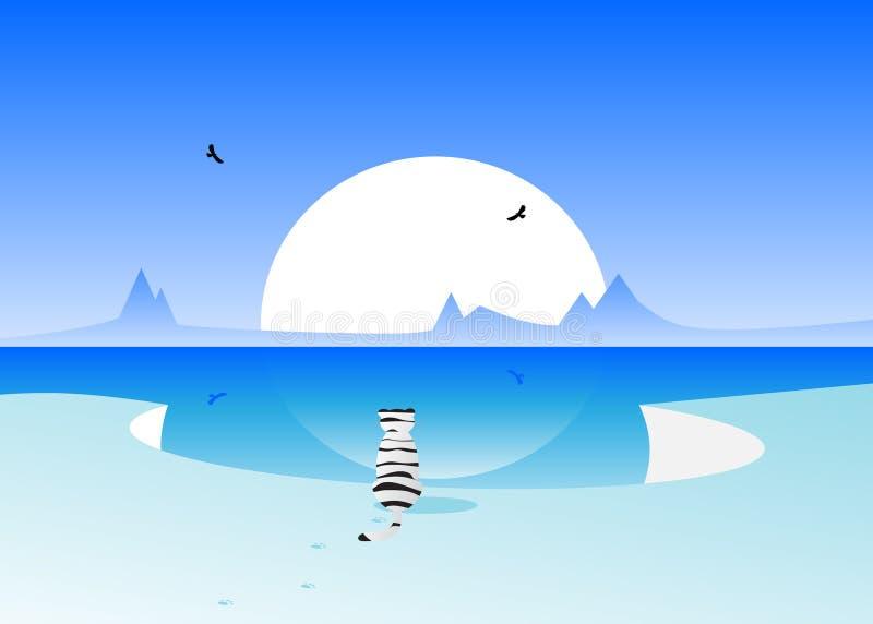 De winter en witte tijger vector illustratie