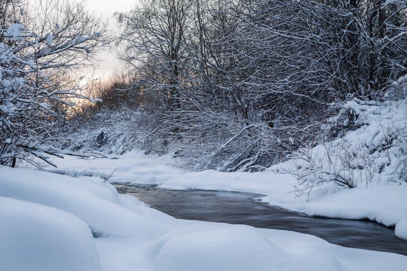 De winter in Finland omvat in sneeuw royalty-vrije stock foto's