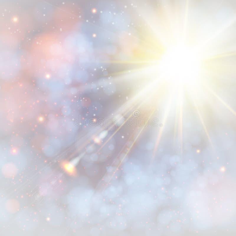 De winter glanzende zon met lensgloed. vector illustratie