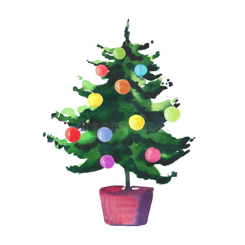 De winter groene nette boom van de Kerstmis mooie artistieke prachtige heldere vakantie in potten met kleurrijke de handillustra  royalty-vrije illustratie