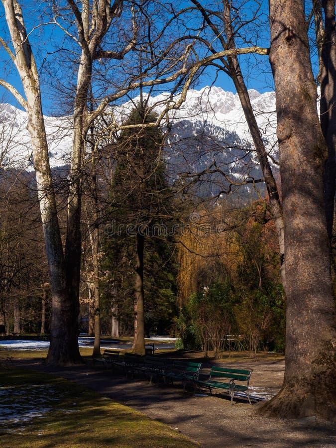 De winter in het park van Innsbruck royalty-vrije stock afbeelding