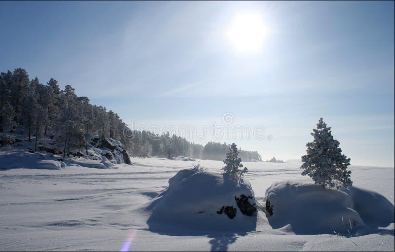 De winter in het Russische noorden bevroren royalty-vrije stock fotografie