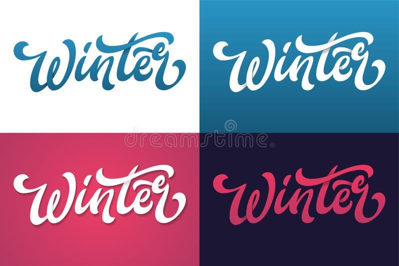 De winter het van letters voorzien typografie Typografie creatief ontwerp voor groetkaart, uitnodiging, affiche, vakantiebanner,  royalty-vrije illustratie