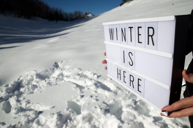 De winter is hier royalty-vrije stock foto