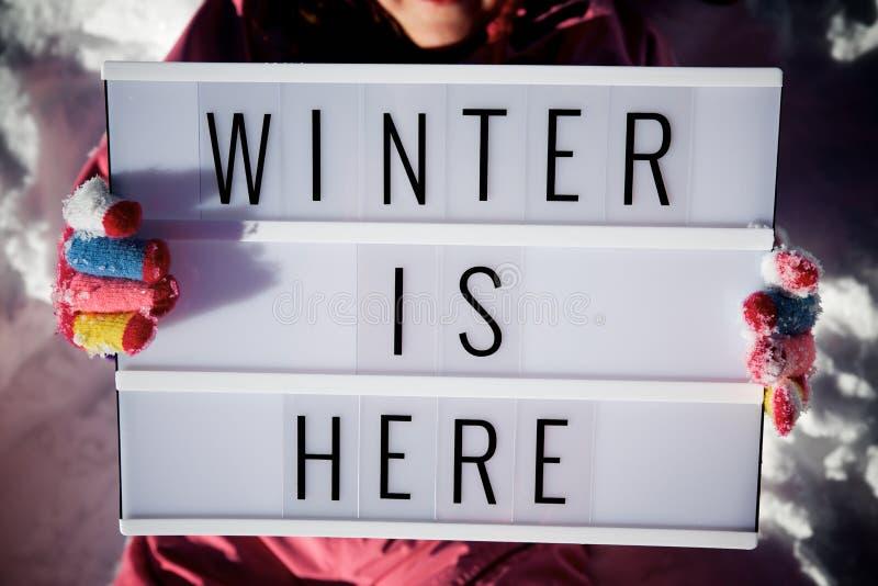 De winter is hier stock afbeelding
