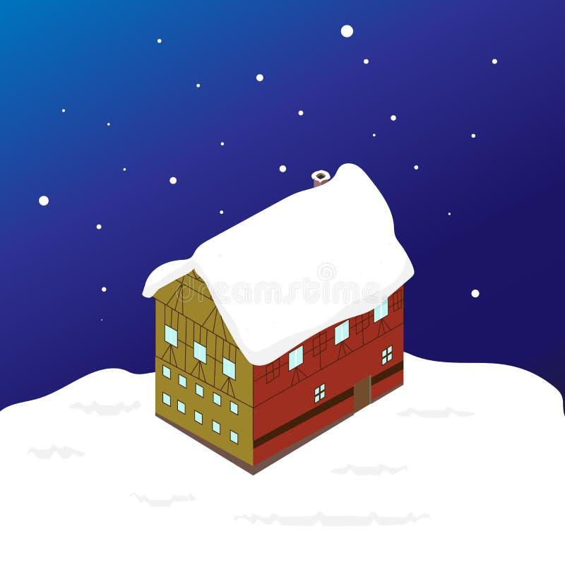 De winter isometrisch die huis met sneeuw wordt behandeld stock illustratie