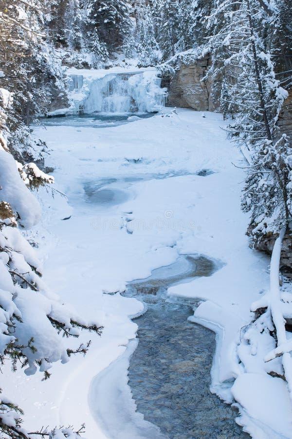 De winter in Johnston Canyon in de Canadese Rotsachtige Bergen royalty-vrije stock foto's