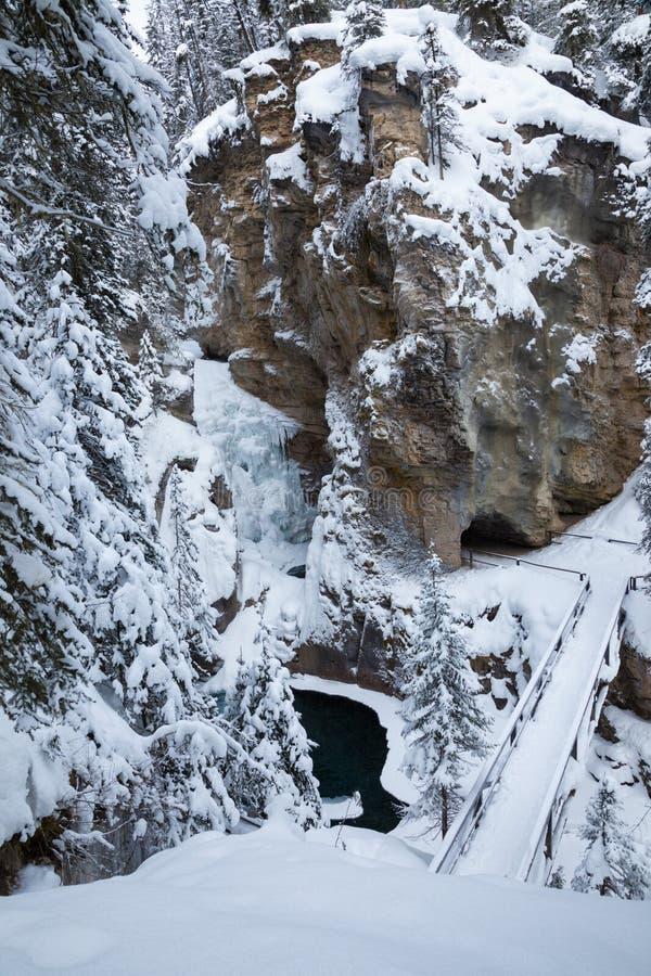 De winter in Johnston Canyon in het Nationale Park van Banff, Alberta royalty-vrije stock afbeeldingen