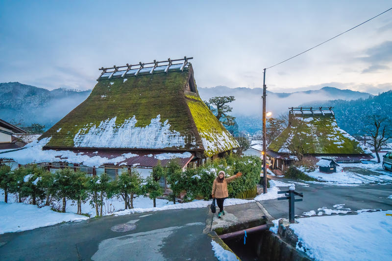 De winter in Kayabuki geen Sato in Miyama royalty-vrije stock fotografie