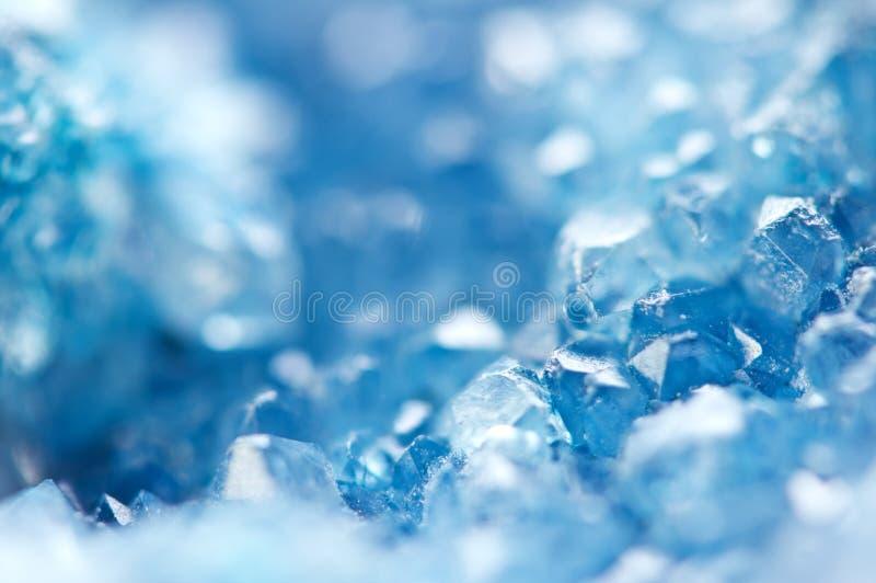 De winter koude achtergrond, blauwe kristallen Macro royalty-vrije stock afbeelding
