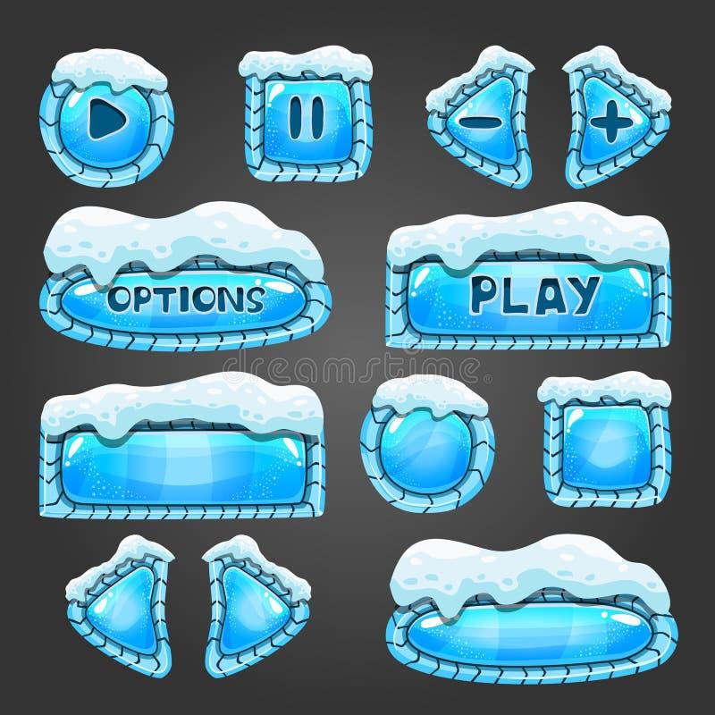 De winter lichtblauwe knopen met sneeuw vector illustratie