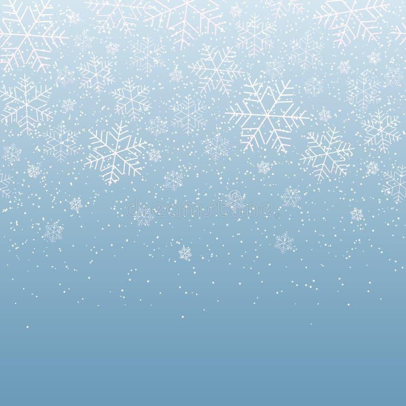 De winter lichte feestelijke achtergrond met dalende sneeuwvlokken voor Kerstmis en Nieuwjaar Decoratief sneeuwpatroon voor prent royalty-vrije illustratie