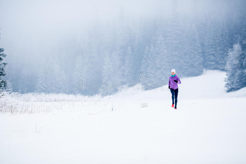De winter lopende vrouw, die inspiratie en motivatie aanstoten stock foto's