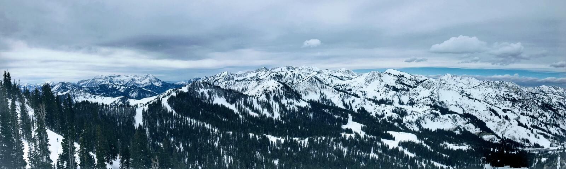 De winter majestueuze meningen rond Wasatch Front Rocky Mountains, Brighton Ski Resort, dicht bij Salt Lake en Heber-Vallei, Park stock foto