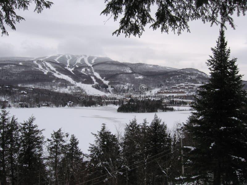 de winter in mont-Tremblant, Québec royalty-vrije stock afbeelding