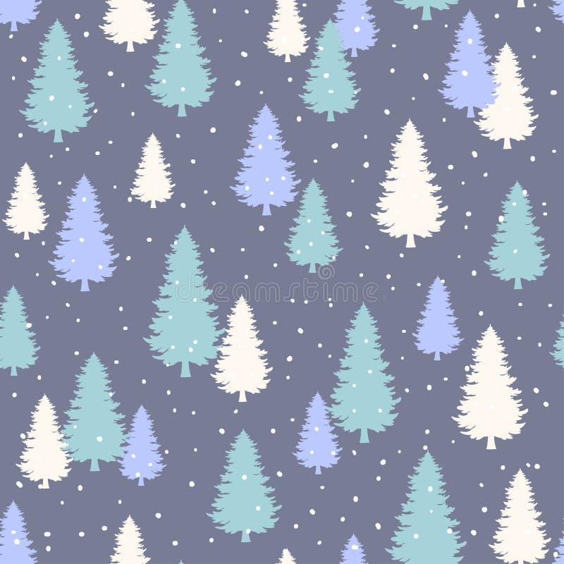 De winter Naadloos Patroon met gestileerde altijdgroene pijnboombomen royalty-vrije illustratie