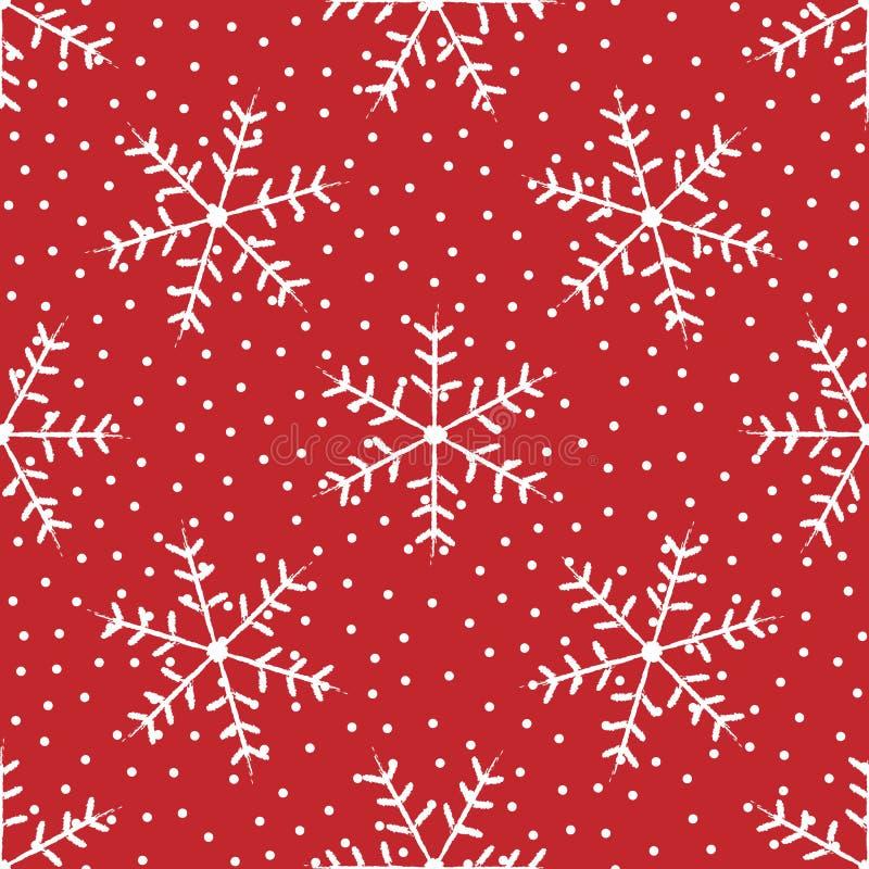 De winter naadloos patroon met met de hand getrokken sneeuwvlokken Grunge, schets, waterverf stock illustratie