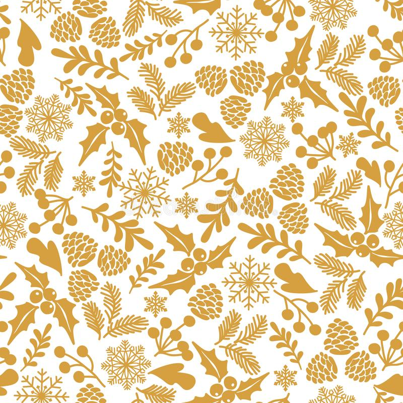 De winter naadloos patroon met hulstbessen Een deel van Kerstmis achtergrondinzameling Kan voor behang worden gebruikt, vult het  vector illustratie