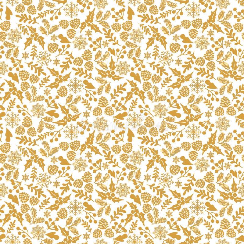 De winter naadloos patroon met hulstbessen Een deel van Kerstmis achtergrondinzameling Kan voor behang worden gebruikt, vult het  royalty-vrije illustratie