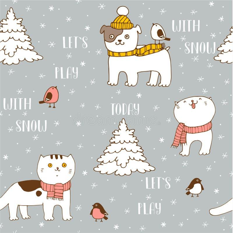De winter naadloos patroon met leuke huisdieren royalty-vrije illustratie