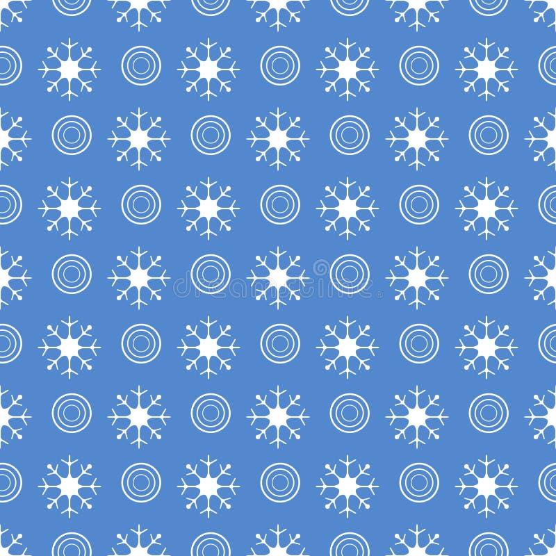 De winter naadloos patroon met sneeuwvlokken, cirkels stock illustratie