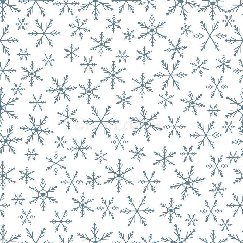 De winter naadloos patroon met verscheidenheid van sneeuwvlokken vector illustratie