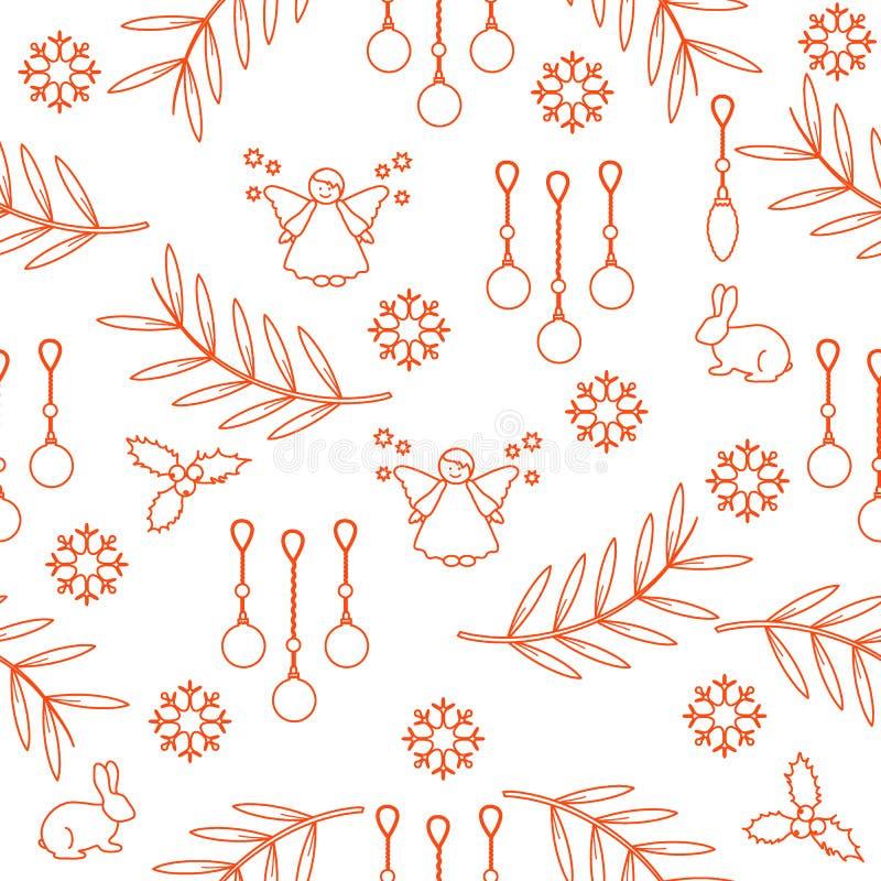 De winter naadloos patroon met verscheidenheids nieuwe jaar en Kerstmis symb stock illustratie