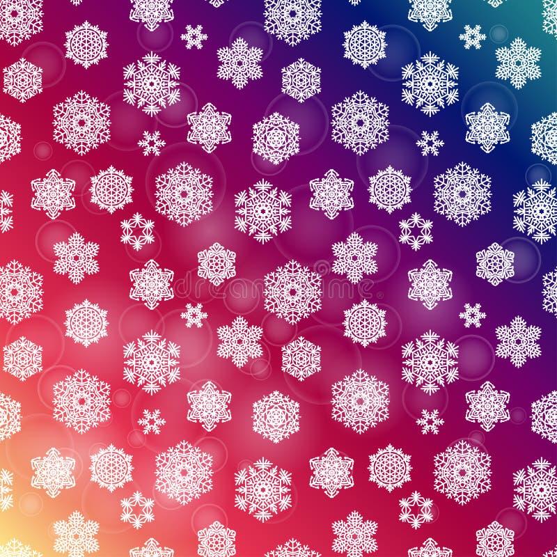 De winter naadloos purper patroon met hand getrokken sneeuwvlokken royalty-vrije illustratie