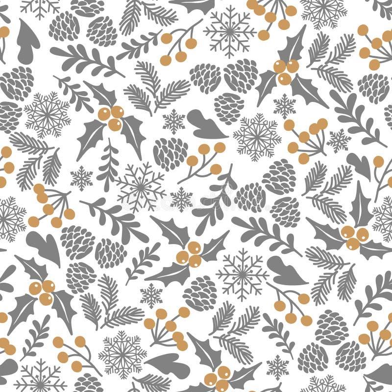 De winter naadloos vectorpatroon met hulstbessen Een deel van Kerstmis achtergrondinzameling Kan voor behang, patroonfi worden ge vector illustratie