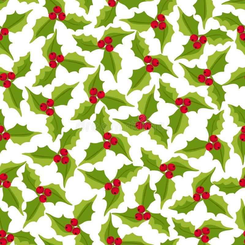 De winter naadloos vectorpatroon met hulstbessen Een deel van Kerstmis achtergrondinzameling Kan voor behang, patroonfi worden ge royalty-vrije illustratie