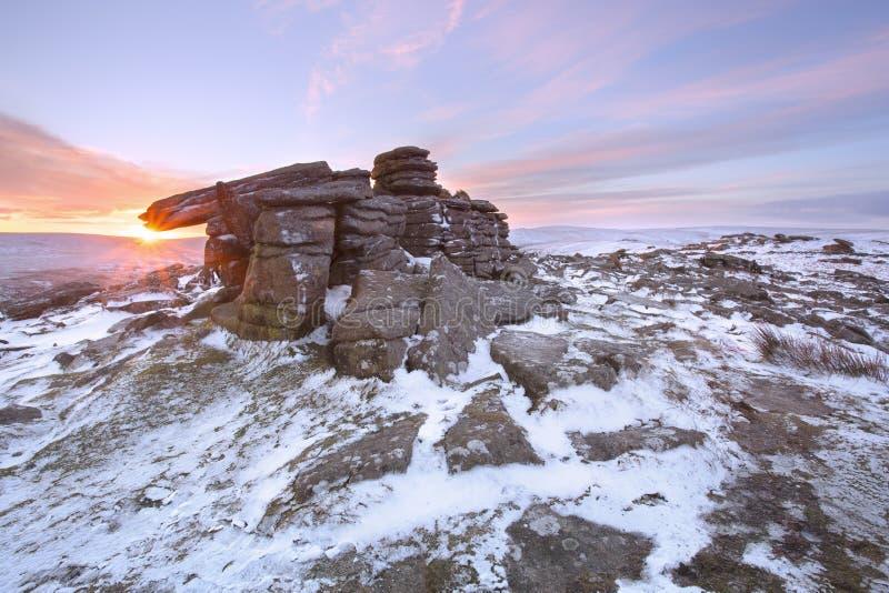 De winter op belstonepiek Dartmoor royalty-vrije stock afbeelding