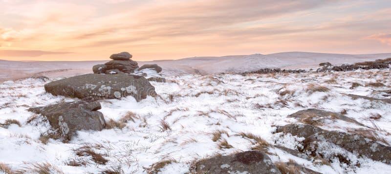 De winter op belstonepiek Dartmoor royalty-vrije stock fotografie