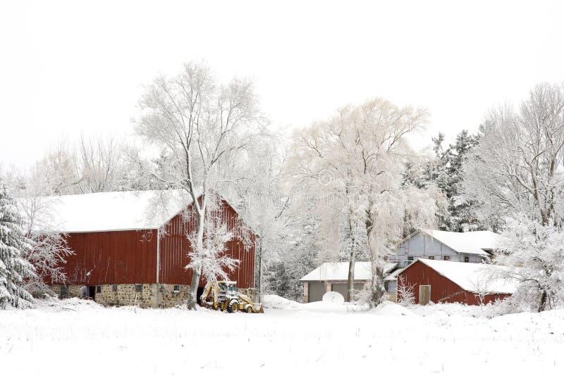 De winter op het Landbouwbedrijf royalty-vrije stock afbeeldingen