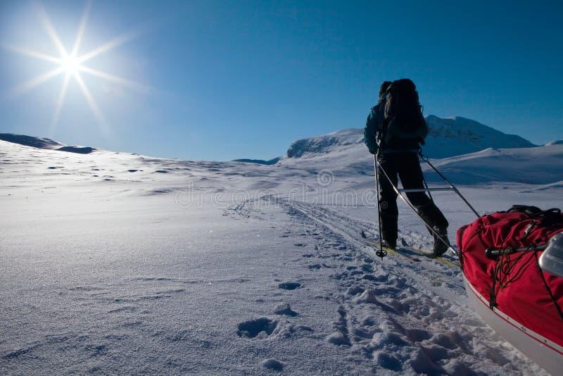De winter op Kungsleden stock fotografie