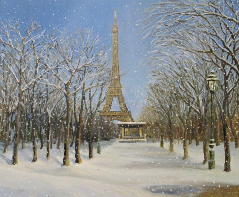De winter in Parijs stock afbeeldingen