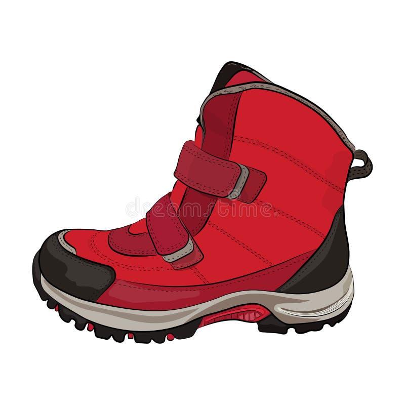 De winter rode vrouwen ` s en kinderen` s schoenen op een wit stock illustratie