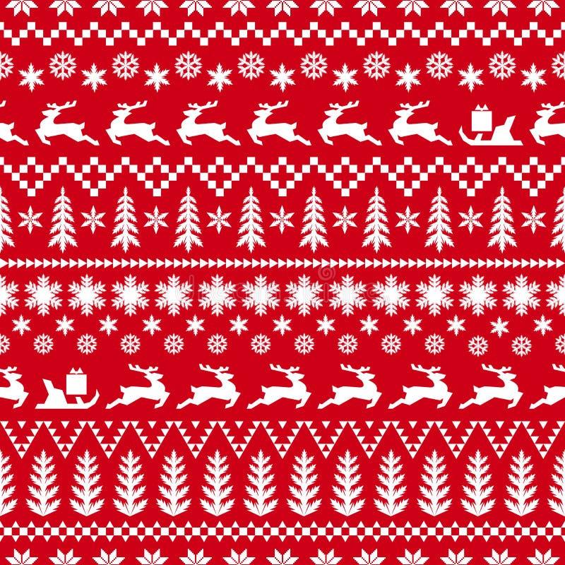 De winter rood en wit patroon met herten royalty-vrije stock afbeeldingen