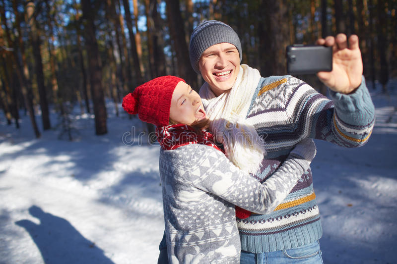 De winter selfie stock foto