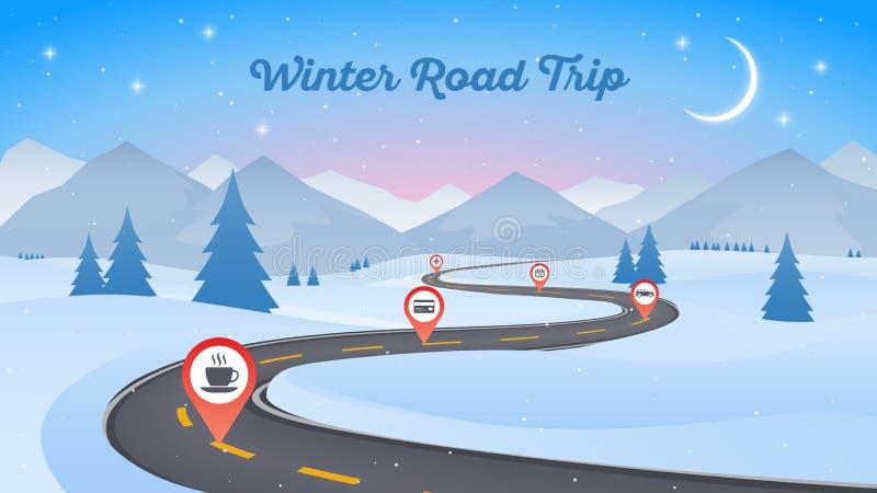De winter sneeuwlandschap met het winden van wegweg 16x9 Nieuw jaar vector illustratie