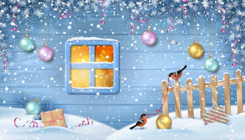 De winter sneeuwscène vector illustratie