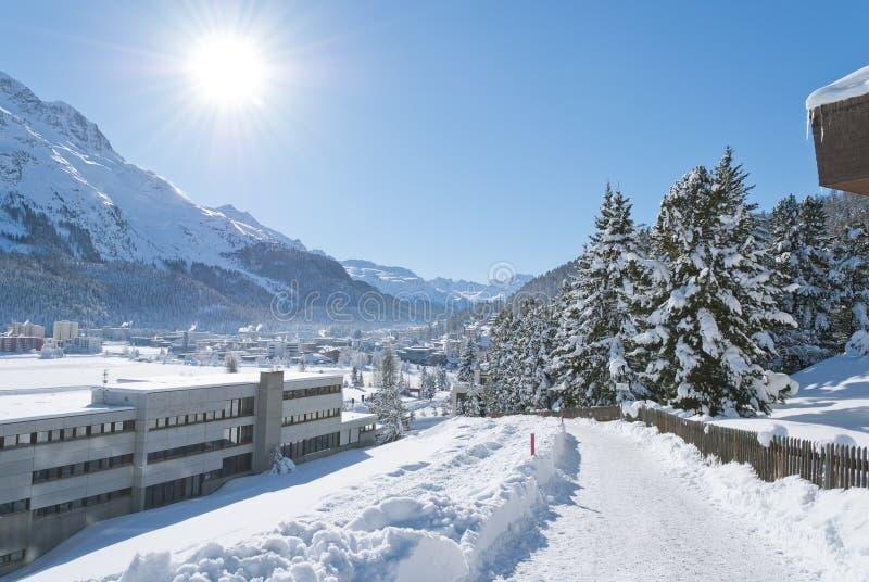 De winter in St. Moritz royalty-vrije stock foto