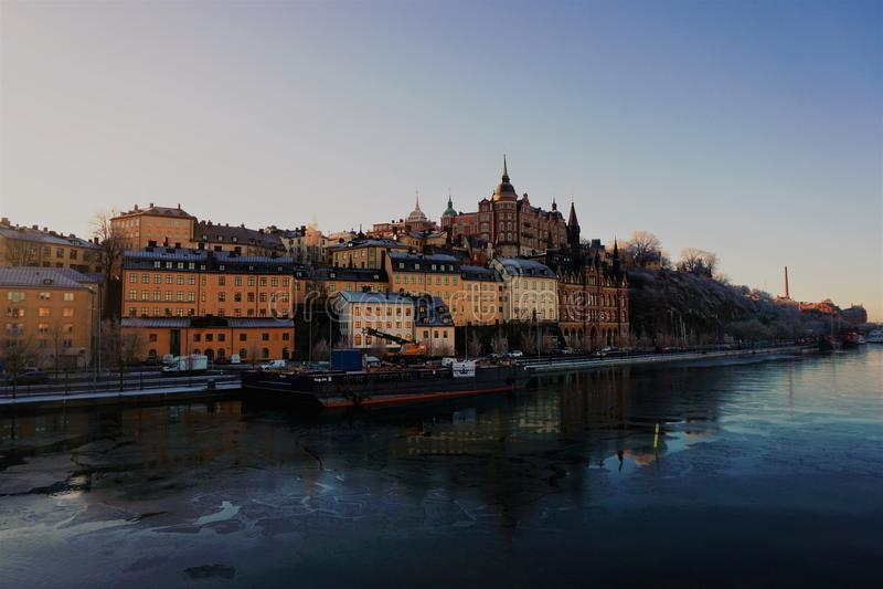De winter in Stockholm stock foto's