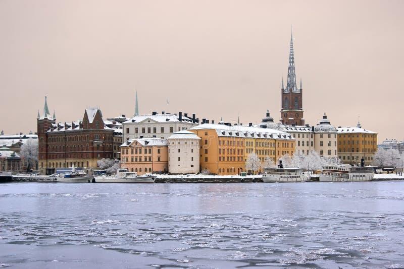De winter in Stockholm royalty-vrije stock foto