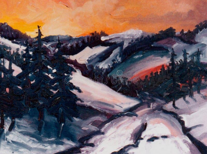 De winter sunsets stock illustratie