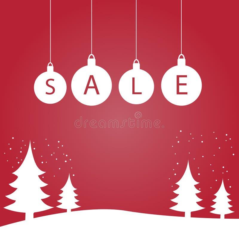 De winter super verkoop met Kerstbomen op een rode achtergrond Vector illustratie vector illustratie