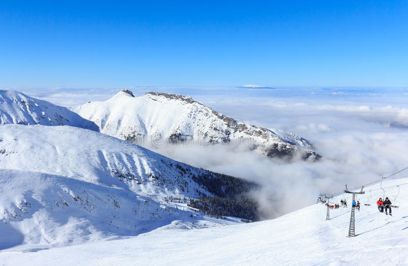 De winter in Tatras, Mening vanaf de bovenkant van Kasprowy Wierch stock foto
