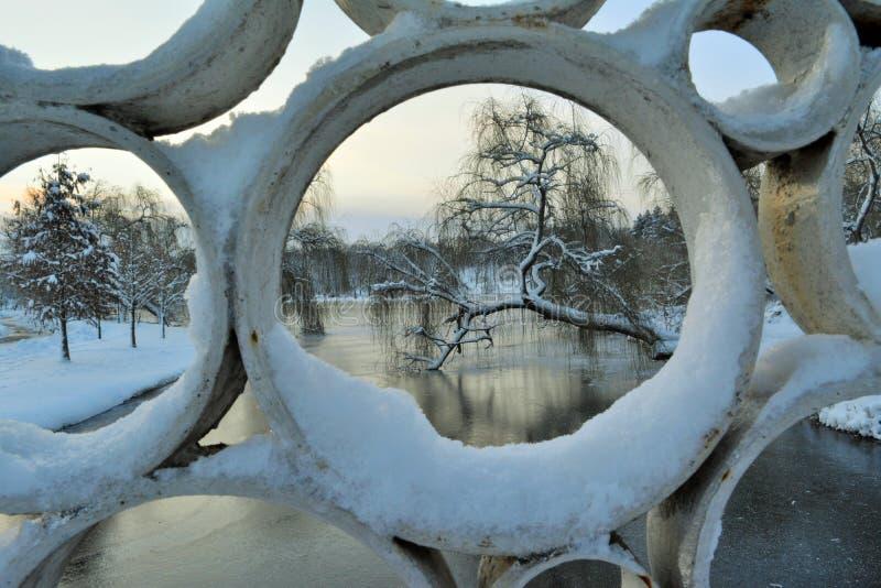 De winter in Tineretului-Park, Roemenië stock fotografie