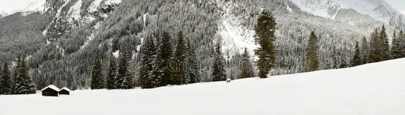 De winter toneelmening van Alpien hutten en bos in de Alpen dichtbij Antholz-Meer, Italiaanse Alpen, Zuid-Tirol royalty-vrije stock foto's